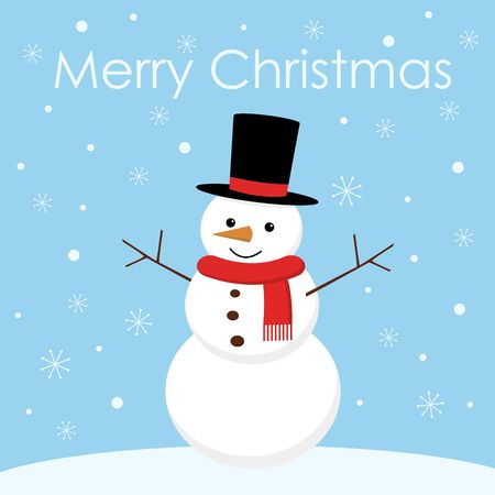 Greeting Christmas card with a cute snowman vector Çizim