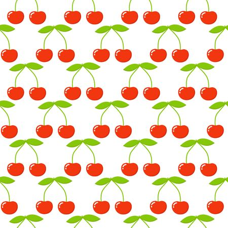 Cherry seamless pattern. Vector texture for textile, wrapping, wallpapers and other surfaces.