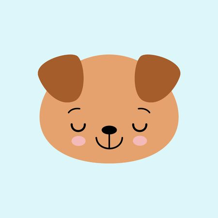 Cartoon cute sleeping puppy, drawing for kids. Vector illustration. Flat style dog
