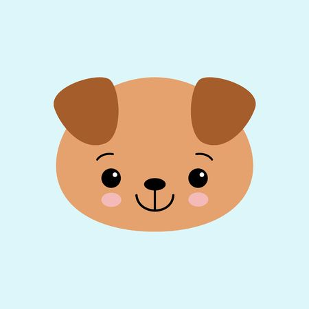 Cartoon cute puppy, drawing for kids. Vector illustration. Flat style dog Çizim