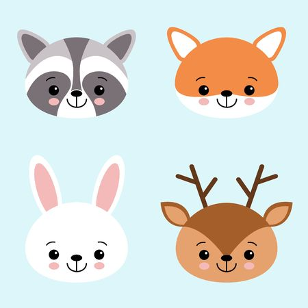 Vector icon set of cute forest animals white hare or rabbit, raccoon, deer and fox. Animal masks for children.