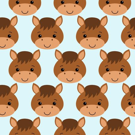 Cute horse seamless pattern on blue background. flat style.
