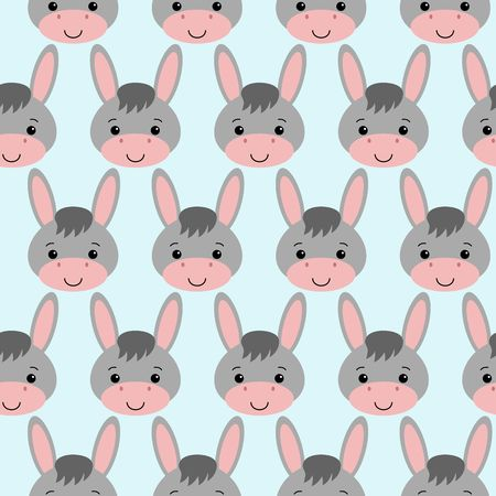 Seamless background design with gray cute donkeys illustration.