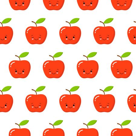 cute flat design cartoon apple kawaii seamless pattern character red white background flat