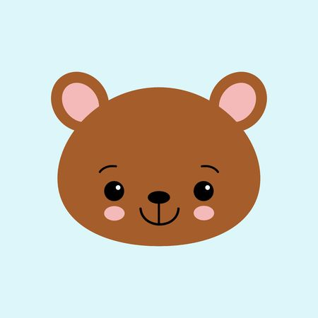 Cute bear. Funny animal. Little bear in cartoon style. Vector illustration. flat. kawaii