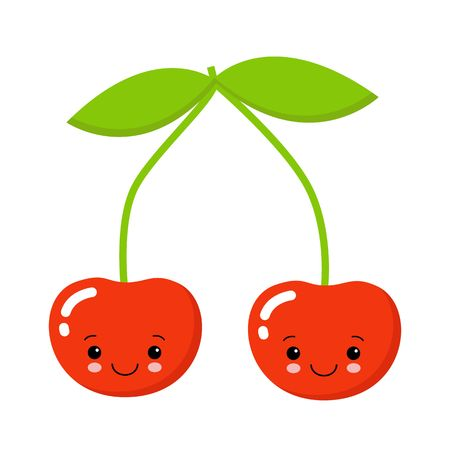 Cherry. Cute fruit vector character isolated on white background Çizim