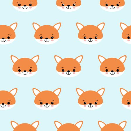 Cute foxes seamless vector pattern. Orange fox s head on blue background.
