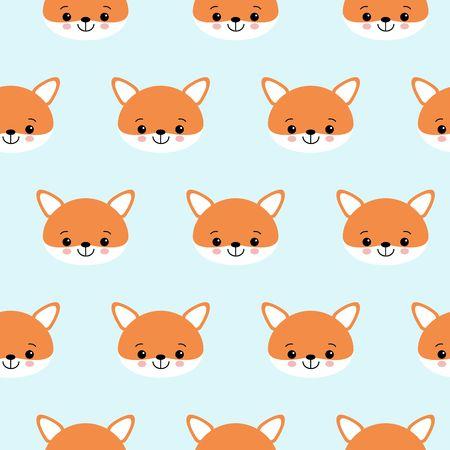 Patrón de vector transparente de zorros lindos. Cabeza de zorro naranja sobre fondo azul. Ilustración de vector