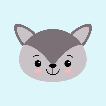 The image of cute little wolf in cartoon style. Vector children s illustration. kawaii Illustration