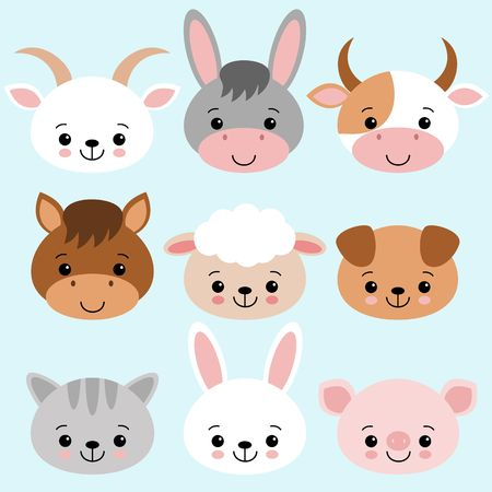 Farm animals set in flat style isolated on blue background. Vector illustration. Cute cartoon animals collection sheep, goat, cow, donkey, horse, pig, cat, dog rabbit kawaii