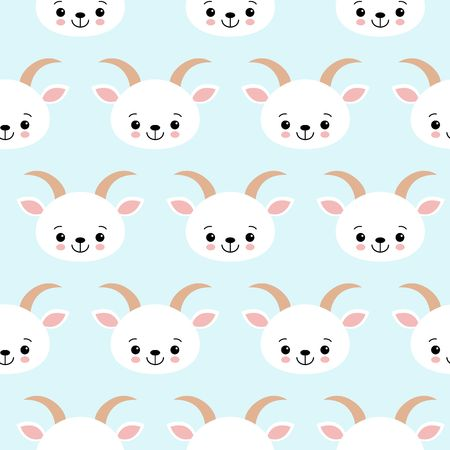 Cute Cool Seamless Pattern Baby Animals Farm Goat . Pattern suitable for posters, postcards, fabric or wrapping paper. Illustration