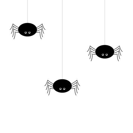Simple vector of a black spiders hanging by a thread. cartoon style