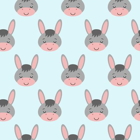 Seamless background design with gray sleeping cute donkeys illustration.