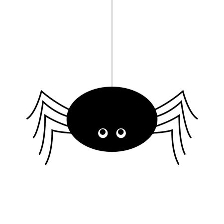 Simple vector of a black spider hanging by a thread. cartoon style Çizim