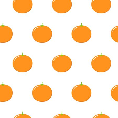 Seamless Pattern with Oranges Fruit. Fresh Background with Stylized Citrus Fruits and Green Petals. Seamless Pattern with Vector Oranges for Wallpaper, Tablecloth, Paper, Fabric, Textile, Design.