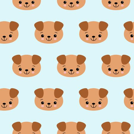 Seamless pattern with cute dogs. Vector animal background. Cute seamless pattern with puppy. Vector Illustration