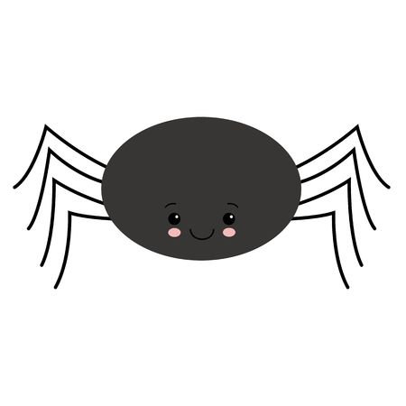 Simple vector of a black cute spider hanging by a thread. cartoon style