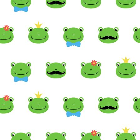 Cute green frog with flower, crown, bow, mustache cartoon character kawaii pattern on white background. Illustration