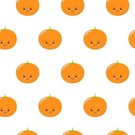 Seamless Pattern with Cute Oranges Fruit. Fresh Background with Stylized Citrus Fruits and Green Petals. Seamless Pattern with Vector Oranges for Wallpaper, Tablecloth, Paper, Fabric, Textile, Design.