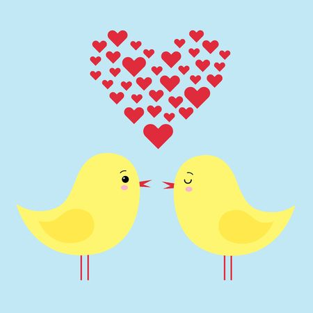 simple card illustration of two funny cartoon chickens in love kawaii