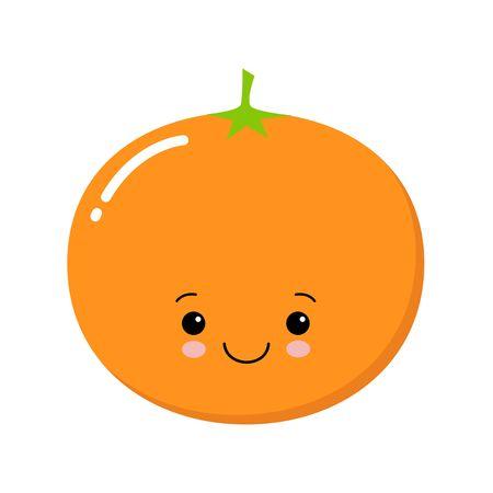 Vector of cute mandarin isolated on white. Cartoon style. Cute funny christmas icon. EPS 10 Vector illustration Vector Illustratie