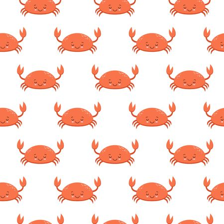Seamless pattern with cute cartoon crabs on white background.
