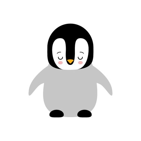 Cute Baby Penguin standing on white background flat design vector illustration. kawaii