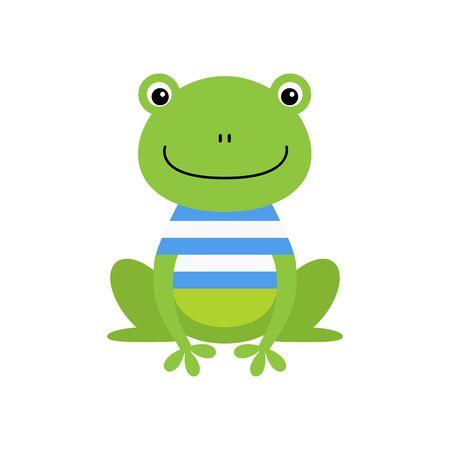 Cute green sailor frog cartoon character isolated on white background. Kawaii animal