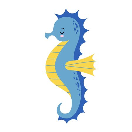 Cute cartoon Sea horse isolated. Seahorse on a white background, vector illustration. Kawaii illustration