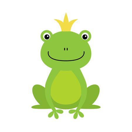 Illustration der isolierten Froschkönig auf weißem Hintergrund. Kawaii-Tier