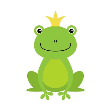 illustration of isolated frog prince on white background. Kawaii animal