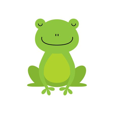 Cute green frog cartoon character isolated on white background. Kawaii animal
