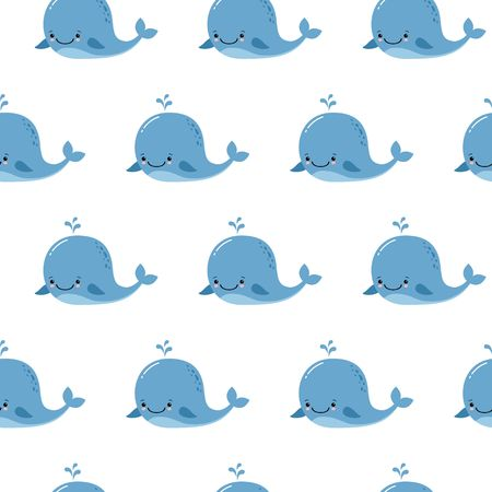 Cute background with cartoon blue whales. Baby shower design. Seamless pattern can be used for wallpapers, pattern fills, web page backgrounds,surface textures. Illusztráció