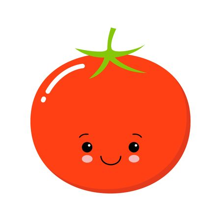 Cartoon tomato with eyes and smiling. Vegetables in flat style. Kawaii illustration Ilustrace