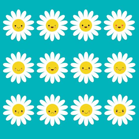 White daisy chamomile icon emoji set set. Funny kawaii cartoon characters. Emotion collection. Happy, surprised, smiling crying sad angry face head. Camomile flower Flat design. Blue background Vector