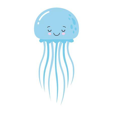 Ilustración de vector de medusas divertidas dibujos animados aislado sobre fondo blanco. Animal lindo, personaje de animal marino utilizado para revistas, libros, carteles, tarjetas, invitaciones para niños, páginas web. Ilustración de vector