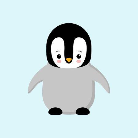 Cute Baby Penguin standing on blue background flat design vector illustration. kawaii