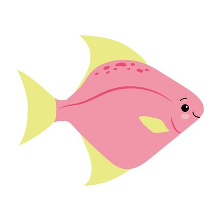 yellow pink fish animals sea vector illustration