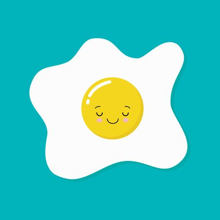 Happy cute smiling funny kawaii fried egg. Vector flat cartoon character illustration icon.Isolated on blue background. Cute kawaii fried egg character concept