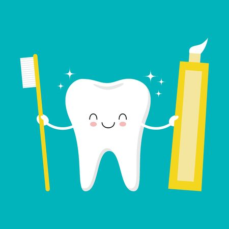 Tooth holding toothpaste and toothbrush. Cute funny cartoon smiling character. Children teeth care icon. Oral dental hygiene. Tooth health. Flat design. Vector illustration Illustration