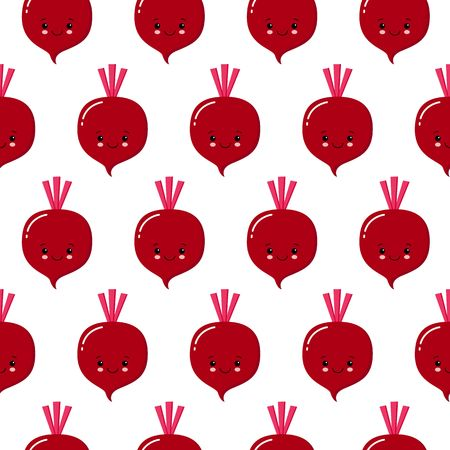 cute kawaii purple vegetable beet, beetroot with smiling face, eyes and green leaves seamless vectot pattern on white background. Kawaii style