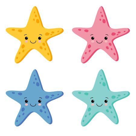 Lindo colorido conjunto de estrellas de mar en fondo blanco. Ilustración de vector. Estilo kawaii Ilustración de vector