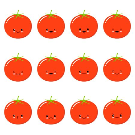 Funny tomato - vector isolated cartoon emoticons. Cute emoji set with a nice character. Collection of an angry, surprised, happy, cheerful, in love, crazy, laughing, sad vegetable on white background