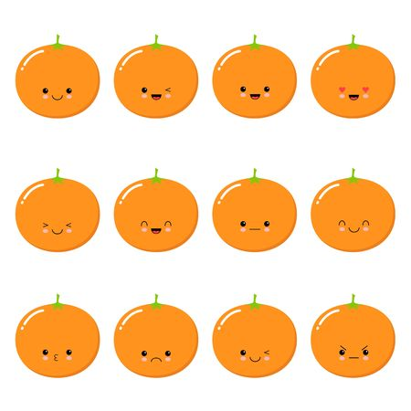 Orange. Fruit Food concept. Emoji Emoticon collection. Cartoon characters for kids coloring book, colouring pages, t-shirt print, icon, logo, label, patch sticker