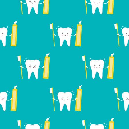 Cute smiling tooth character with brush and toothpaste seamless pattern background. Kawaii illustration