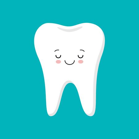Cute healthy shiny cartoon tooth character, childrens dentistry concept vector Illustration