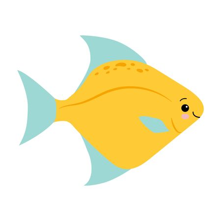 yellow blue fish animals sea vector illustration. Kawaii flat style