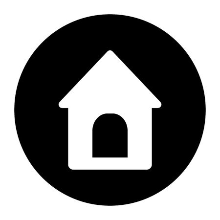 Doghouse icon in round. Vector illustration style is a flat iconic doghouse symbol. Designed for web and software interfaces.