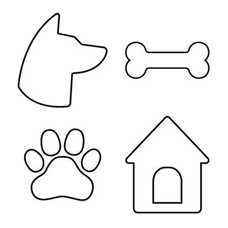 Dog Icons Set. Dog head, paw, bone, dog house Vector illustration
