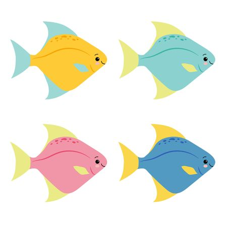 A cartoon vector illustration set of rainbow colored stripey fishes. Kawaii animal